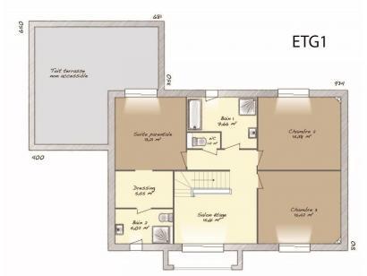 Plan de maison Contemporaine 186 4 chambres  : Photo 2