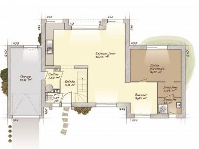 Plan de maison Design 90+27 V2 4 chambres  : Photo 1