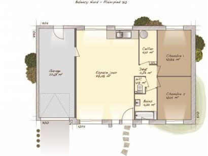 Plan de maison Plain-pied 70 2 chambres  : Photo 1