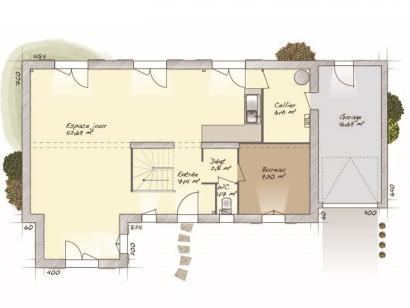 Plan de maison Tradition 133L 3 chambres  : Photo 1