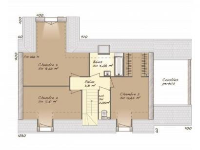 Plan de maison Tradition 114L 4 chambres  : Photo 2