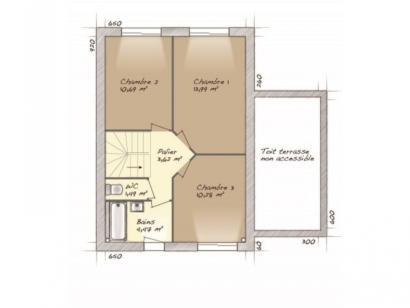 Plan de maison Urbaine GA 6.5 3 chambres  : Photo 2