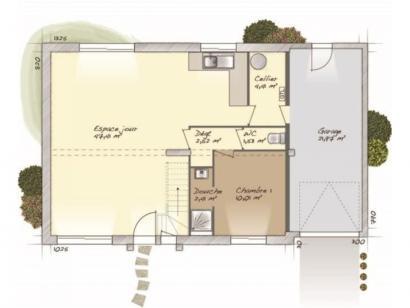 Plan de maison Aménagé 100 4 chambres  : Photo 1