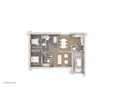 Plan de maison Amandine G 90 Design 3 chambres  : Photo 1