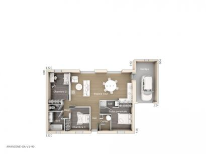 Plan de maison Amandine GA V1 90 Design 3 chambres  : Photo 1