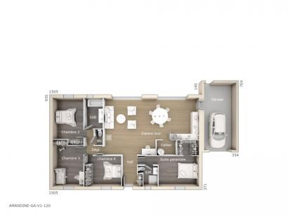 Plan de maison Amandine GA V1 120 Design 4 chambres  : Photo 1