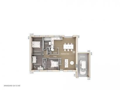 Plan de maison Amandine GA V2 80 Design 3 chambres  : Photo 1