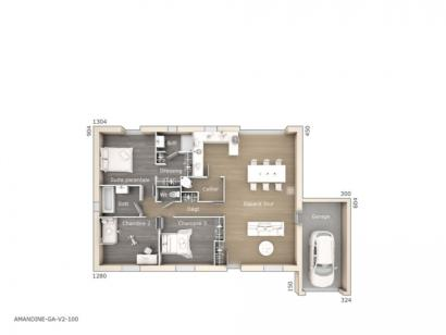 Plan de maison Amandine GA V2 100 Tradition 3 chambres  : Photo 1
