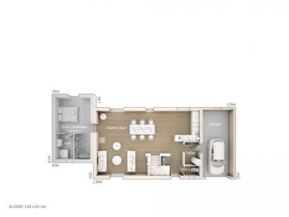 Plan de maison Elodie 120 Design 4 chambres  : Photo 1