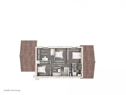 Plan de maison Elodie 120 Design 4 chambres  : Photo 2