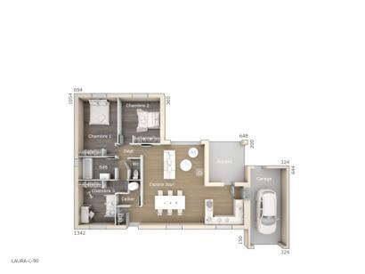 Plan de maison Laura 90 Design 3 chambres  : Photo 1