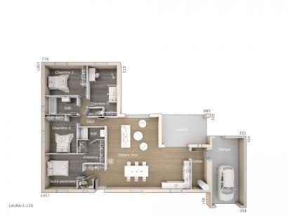 Plan de maison Laura 130 Design 4 chambres  : Photo 1