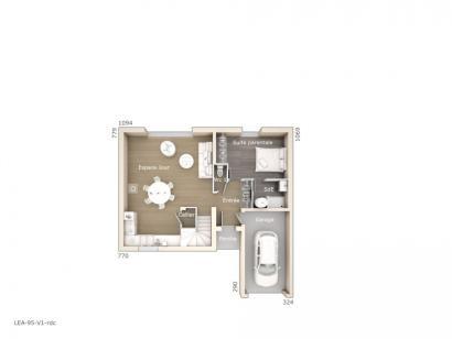 Plan de maison Léa V1 95 Tradition 3 chambres  : Photo 1