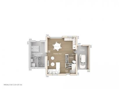 Plan de maison Magali 110 Design 4 chambres  : Photo 1