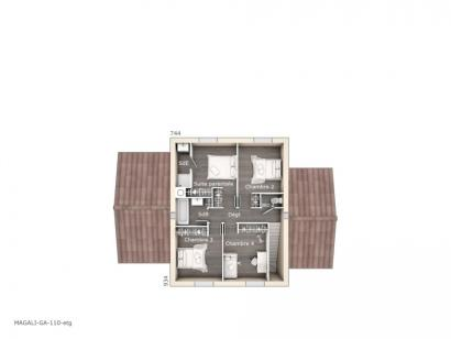 Plan de maison Magali 110 Design 4 chambres  : Photo 2