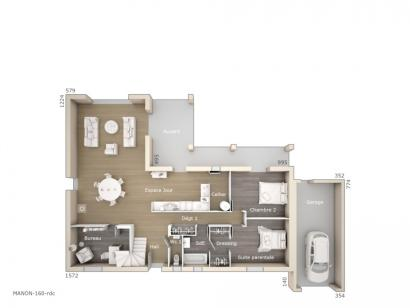 Plan de maison Manon 160 Tradition 4 chambres  : Photo 1