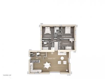 Plan de maison Olivia 110 Tradition 3 chambres  : Photo 1