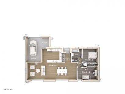 Plan de maison Patio 100 Design 2 chambres  : Photo 1