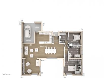 Plan de maison Patio 140 Design 3 chambres  : Photo 1