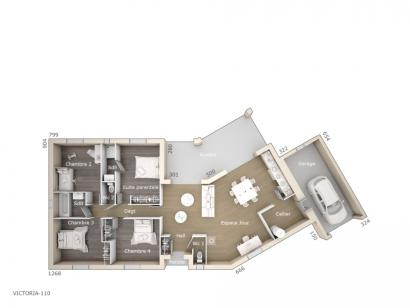 Plan de maison Victoria 110 Design 4 chambres  : Photo 1