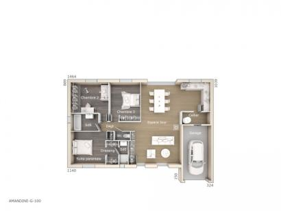 Plan de maison Amandine G 100 Tradition 3 chambres  : Photo 1