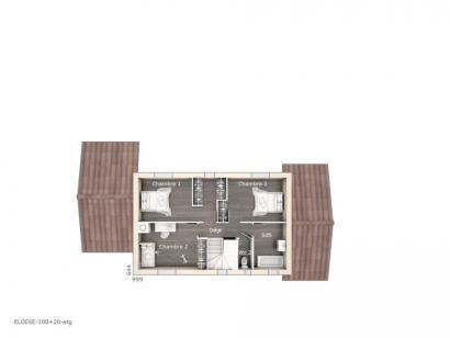 Plan de maison Elodie 100 Design 3 chambres  : Photo 2