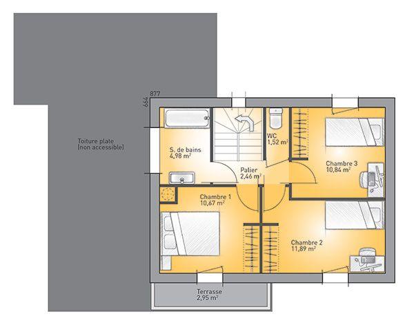 Plan de l'étage du modèle Eco-Concept 110 m²