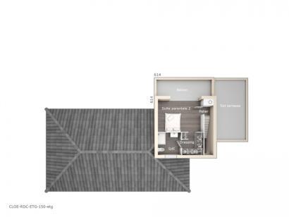 Plan de maison Cloé 150 Design Toit 3 pentes 4 chambres  : Photo 2