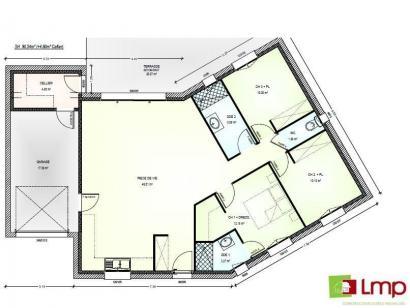 Plan de maison Avant Projet Falleron 90 m² - 3 Chambres 3 chambres  : Photo 1