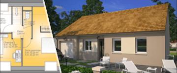 Plan de maison avec 4 chambres
