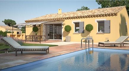 4CH pp gi Open Sud un plan de maison plain pied de 4 chambres par Maisons France Confort