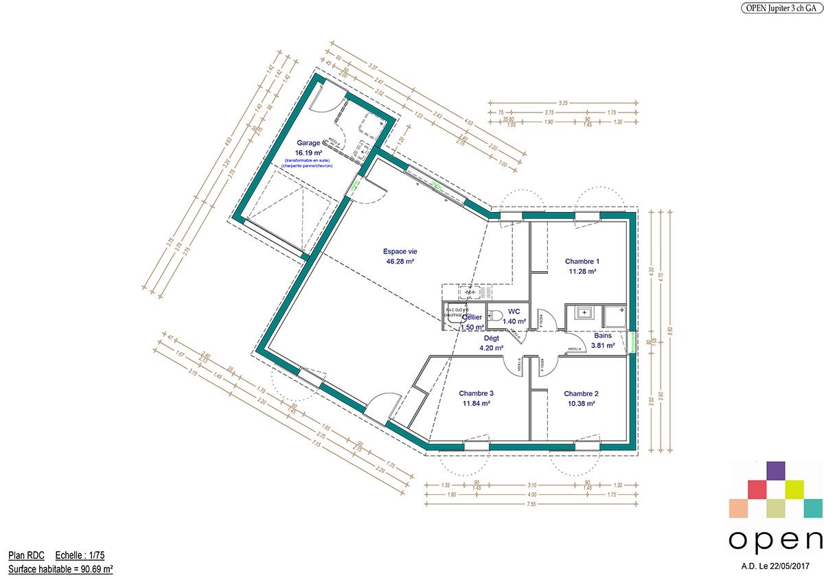 Plan de maison Jupiter - Maisons Open Limousin