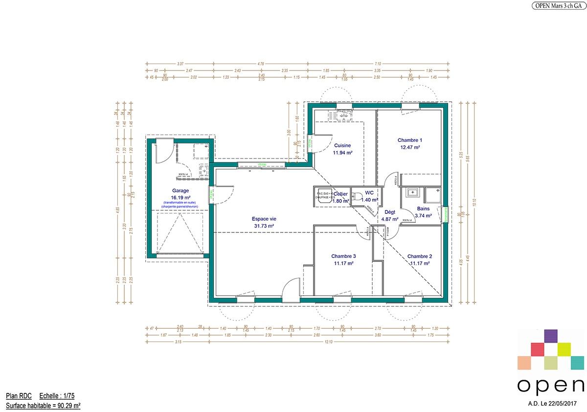 Plan de maison Mars - Maisons Open Limousin