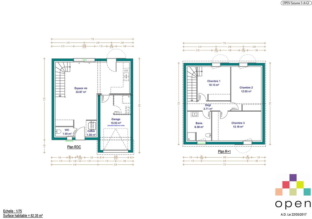 Plan de maison Saturne - Maisons Open Limousin