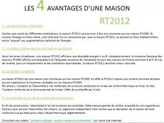 """Les Avantages d""""une maison RT2012"""