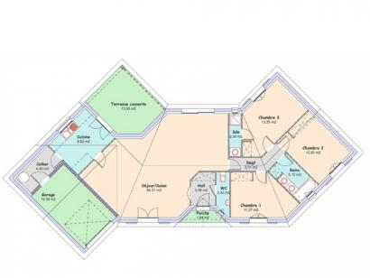 Plan de maison Diamant 3 chambres  : Photo 1