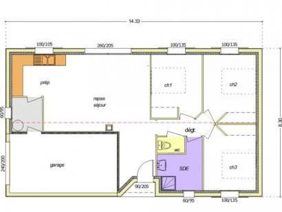 Plan de maison Avant-projet MARANS - 80 m² - 3 chambres  : Photo 3