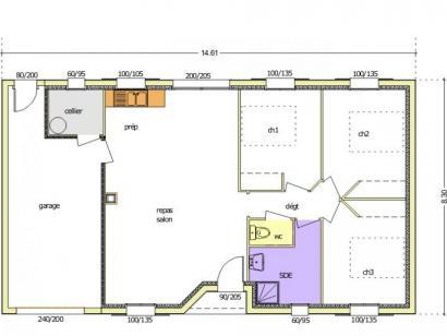 Plan de maison Avant-projet MARANS - 80 m² - 3 chambres  : Photo 4