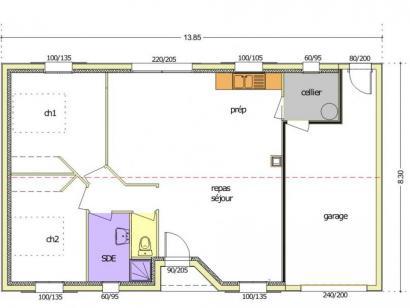 Plan de maison Avant Projet LA TRANCHE SUR MER - 75 m² - 2 chambr 2 chambres  : Photo 2