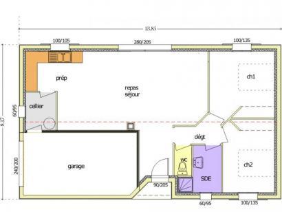 Plan de maison Avant Projet LA TRANCHE SUR MER - 75 m² - 2 chambr 2 chambres  : Photo 3