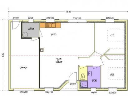 Plan de maison Avant Projet LA TRANCHE SUR MER - 75 m² - 2 chambr 2 chambres  : Photo 4