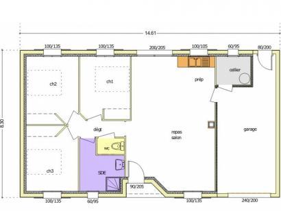 Plan de maison Avant-Projet FONTENAY LE COMTE - 80 m² - 3chambres 3 chambres  : Photo 2