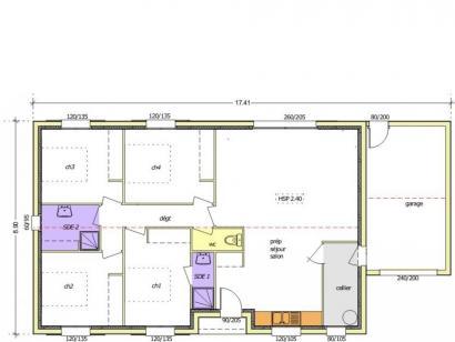 Plan de maison Avant-projet APREMONT - 103 m² - 4 chambres 4 chambres  : Photo 1