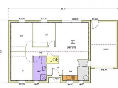 Plan de maison Avant projet BOURNEZEAU 72m² - 3 chambres 3 chambres  : Photo 1