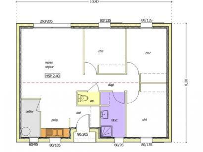 Plan de maison Avant projet BOURNEZEAU 72m² - 3 chambres 3 chambres  : Photo 2