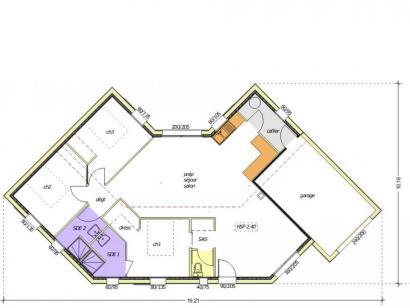 Plan de maison Avant-projet LA MOTHE ACHARD - 83 m² - 3 chambres 3 chambres  : Photo 3