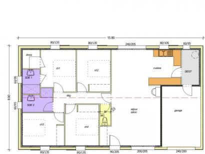 Plan de maison Avant-projet TIFFAUGES - 103 m² - 4 chambres 2 chambres  : Photo 2