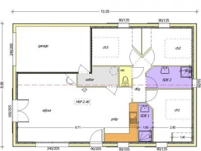 Plan de maison Avant-projet BOULOGNE - 84 m² - 3 chambres 3 chambres  : Photo 1