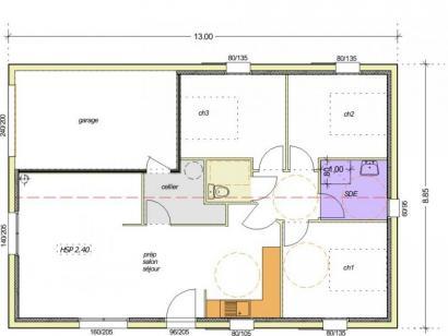Plan de maison Avant-projet ST JULIEN DES LANDES - 80 m² - 3 cham 4 chambres  : Photo 1