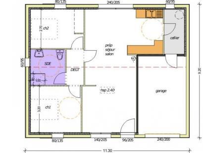 Plan de maison Avant-projet L'HERMENAULT - 70 m² - 2 chambres 2 chambres  : Photo 1